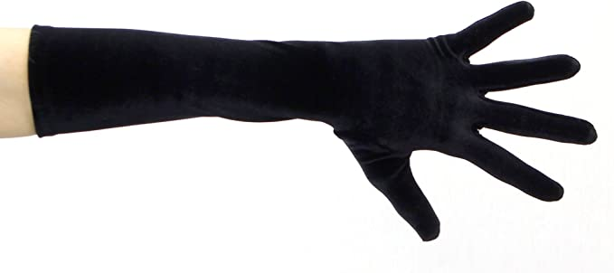 "22/"" Velvet Opera Length  Stretch Gloves Navy Blue."