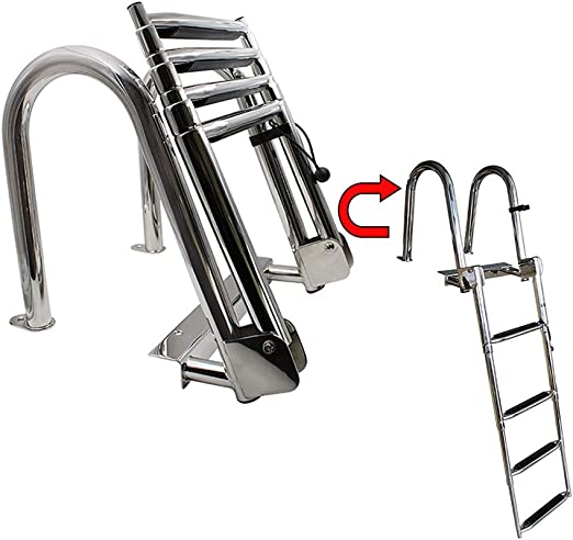 Escaleras telescópicas de 4 Peldaños, Escalera de Barco de Pontón de Acero Inoxidable Premium para Yate Marino/Piscina, Fácil de Instalar: Amazon.es: Hogar