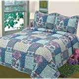"""Fancy Collection 3pc Bedspread Bed Cover Floral Blue Teal Green New #78 Full/queen Oversize 100""""x106"""""""