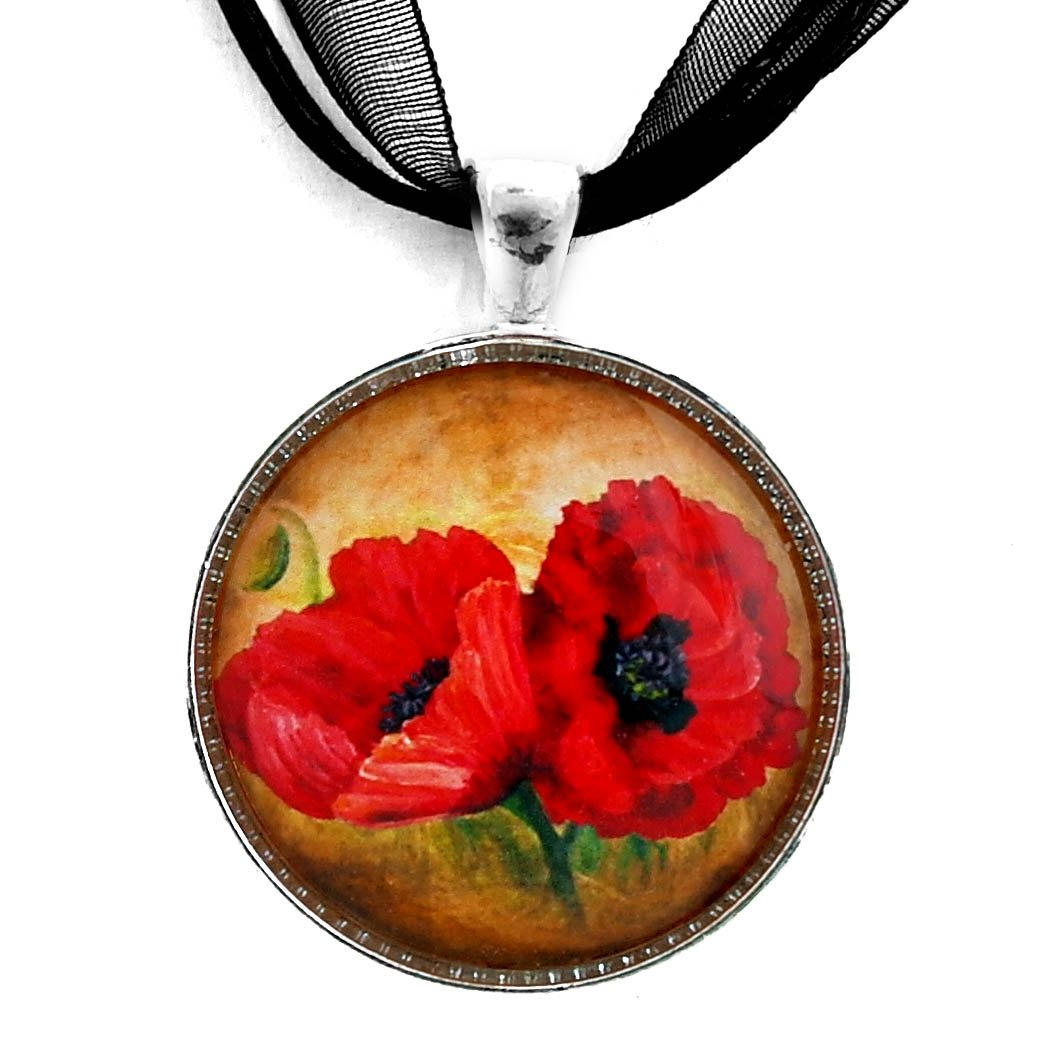 Laura Milnor Iverson Two Red Poppies Pendant on Ribbon Necklace | Handmade Jewelry