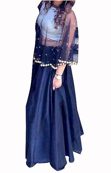 Buy Design Mart Women S Taffeta Silk Self Design Semi Stitched Crop Top Lehenga Choli Blue White Free Size At Amazon In