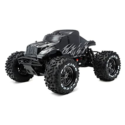 amazon com: exceed rc 1/8th ep mad beast monster truck racing edition ready  to run w/ 540l brushless motor/ esc/ lipo battery (black/silver) charger  not