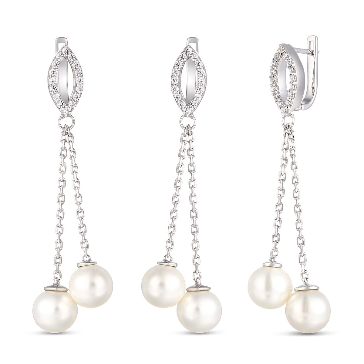 Easter Offer, Ferhe New York 925 Sterling Silver Earring with Freshwater pearl & Cubic zirconia, Pearl Earrings