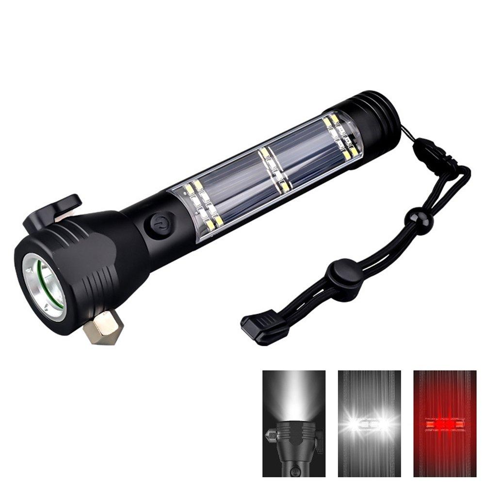 Flashlight Solar Energy USB Charging Multifunction Glare Outdoor Lights Emergency With Safety Hammer Car Warning Light