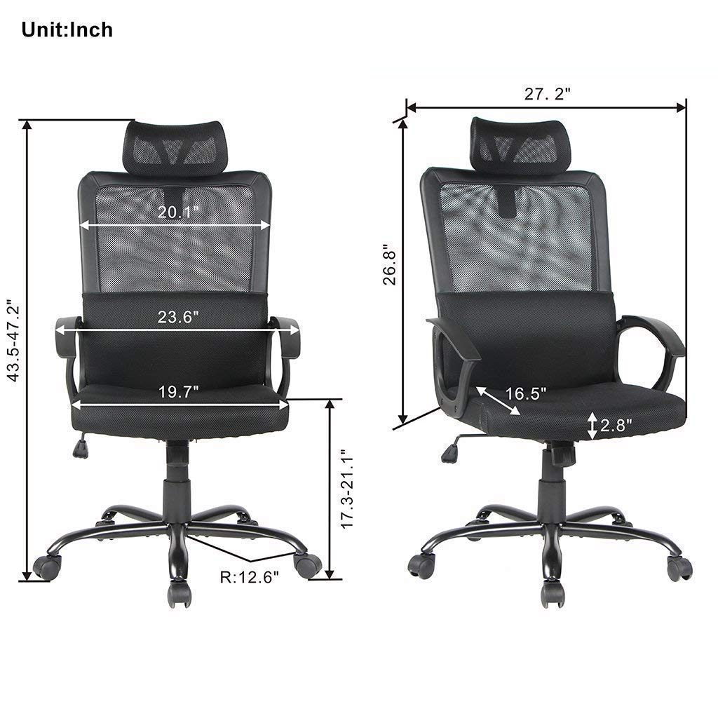 Smugdesk Ergonomic Office Chair Adjustable Headrest Mesh Office Chair Office Desk Chair Computer Task Chair (Black) - 2579 by Smugdesk (Image #7)