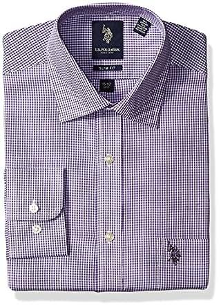 U s polo assn men 39 s shepherds check semi spread collar for Semi spread collar shirt