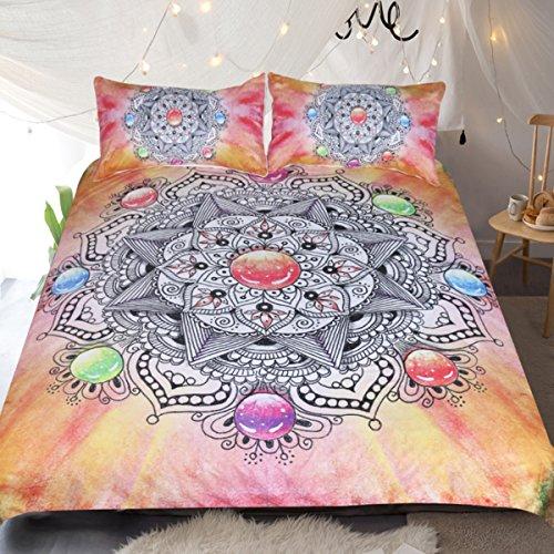 Sleepwish Diamond Gemstone Mandala Bedspread Flower of Life Chakra Bedding 3 Piece Orange Crystal Indian Psychedelic Bed Set (Queen)