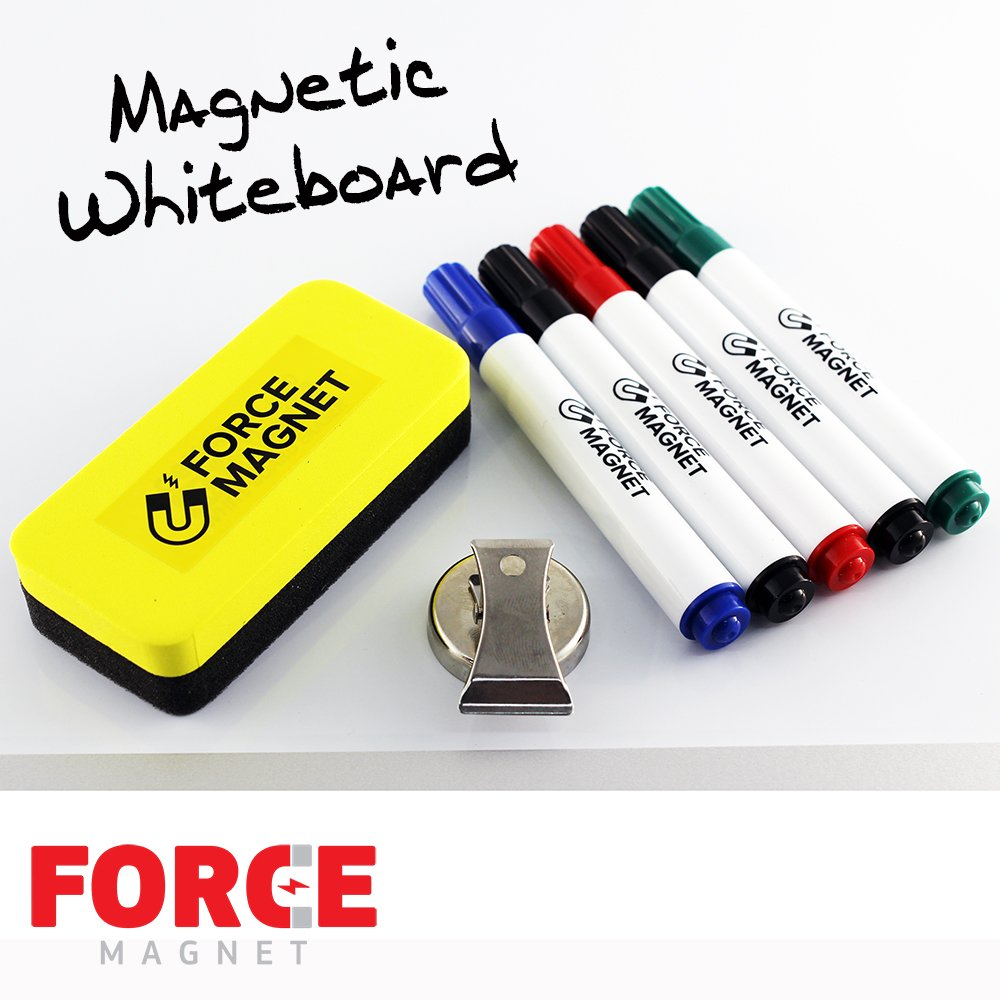 Magnetic 12 x 16'' Dry Erase Whiteboard. Includes 5 Dry Erase Markers, Assorted Colors.Magnetic Eraser Great for Fridge, Locker, and More 10 Seconds Super Easy Mounting System by FORCE MAGNET (Image #3)