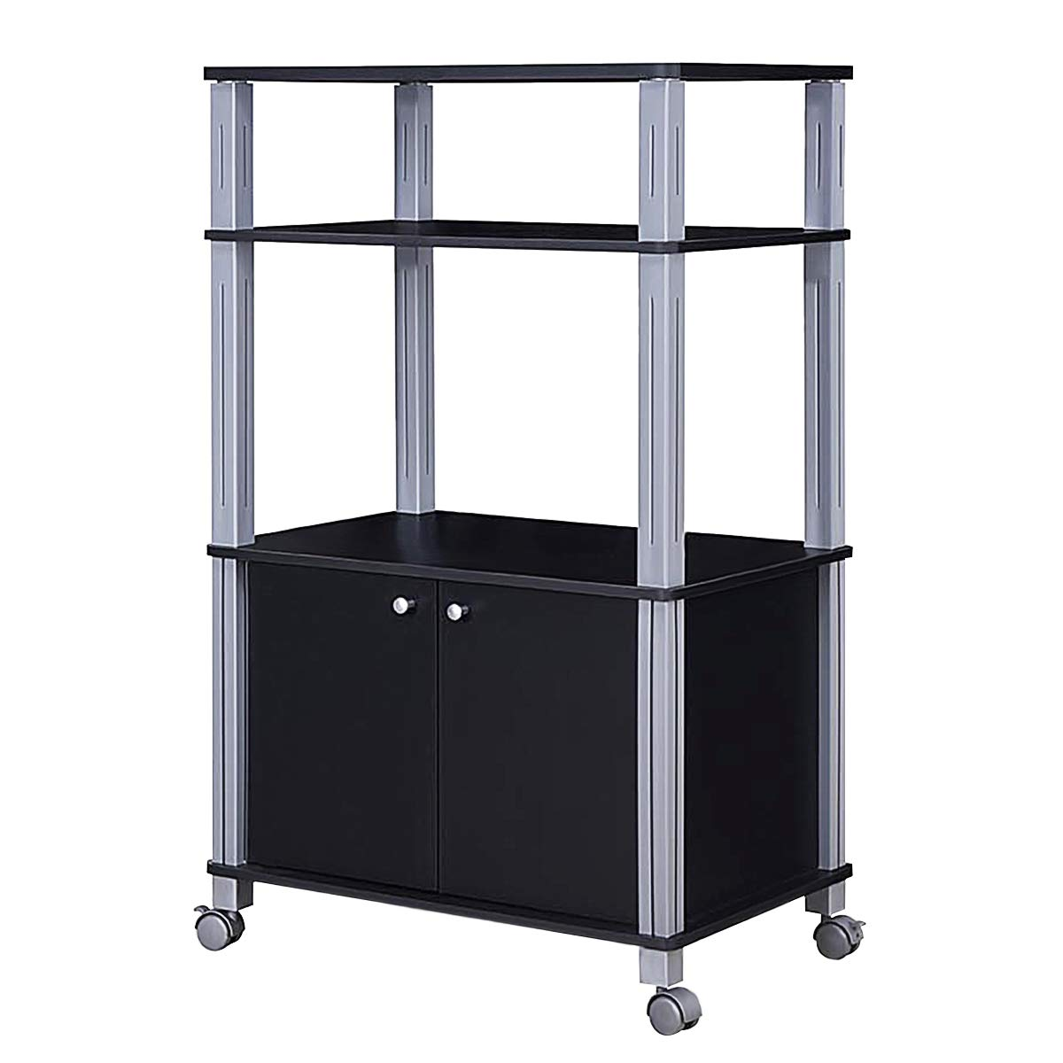 Giantex Rolling Kitchen Baker's Rack Microwave Oven Stand Utility Cart Multifunctional Display Shelf on Wheels with 2-Tier Shelf and Cabinet Spice Organizer for Kitchen Dining Room Furniture (Black) by Giantex (Image #8)