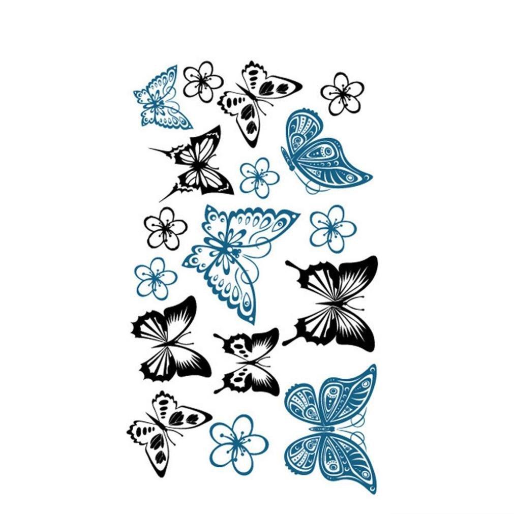 OUFENLI Body Art Temporary Tattoos 3D Fake Tattoo for Women Girls Kids Butterfly Flower Rose Feather Pattern Waterproof Stickers (Multicolor)