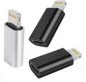 [Apple MFi Certified] 3 Pack USB C to Lightning Adapter, Type USB C Female to Lightning Male Adapter iPhone Charger Converter Compatible for iPhone 12 11 XR XS X 8, Support Fast Charging & Data Sync
