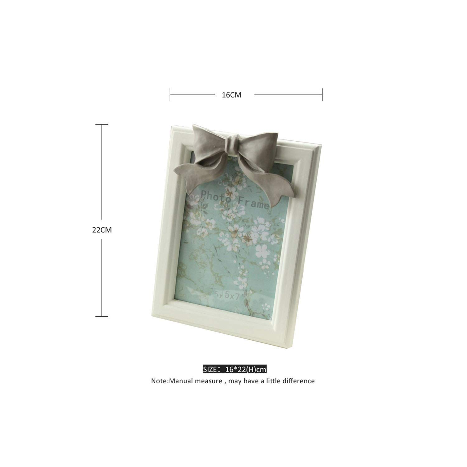 awret 1 Piece Resin Bow Knot Wall Hanging Vintage Wooden Frame for Family Home Decor GM08 7,White 7 Inch