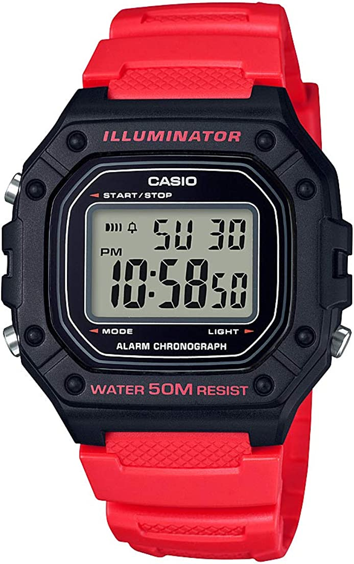 Casio Men's 'Classic' Quartz Stainless Steel and Resin Watch, Color:red (Model: W-218H-4BVCF)