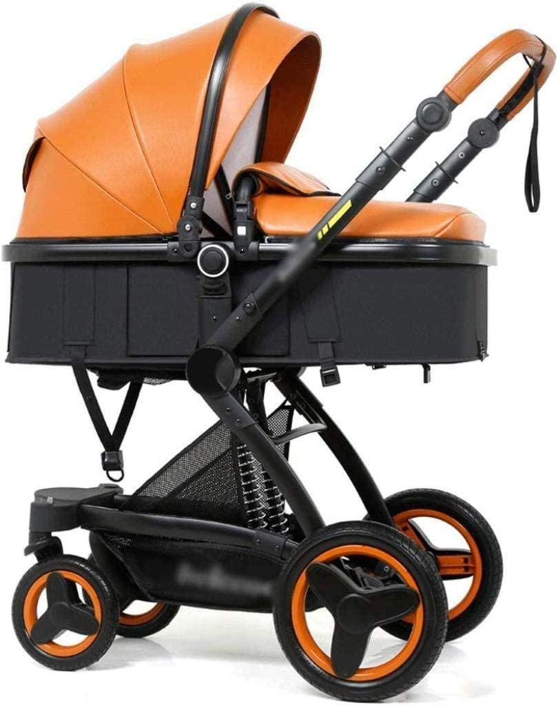 赤ちゃんジョギングベビーカー、ベビーカーユニセックス子供、ベビーカーベビーカー高い景観双方向ショックベビーカーベビーカー缶シットリクライニング折りたたみベビーベビーカー (Color : Orange, Size : 43*14*24 inches)
