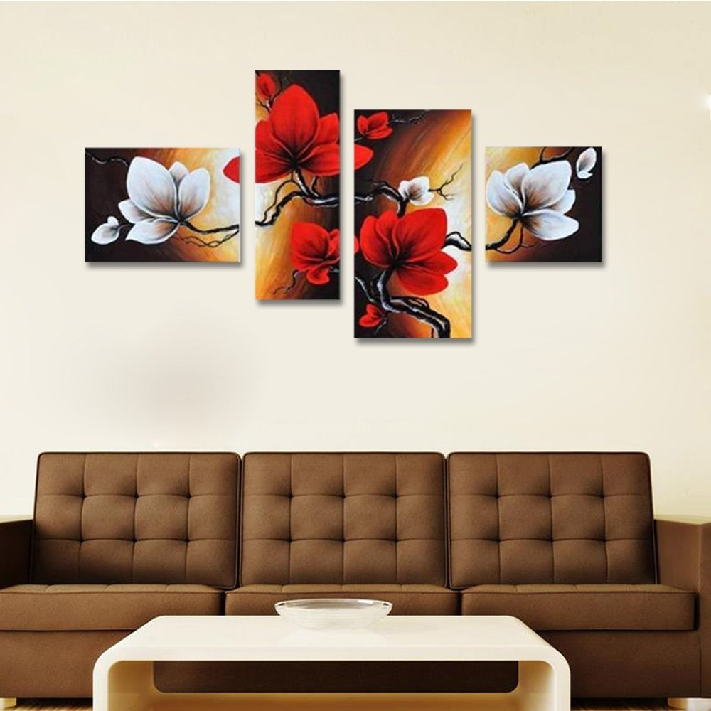 Wieco Art - Large Size Modern Abstract Floral 4 Piece 100% Hand Painted Full Bloom in Spring Red Flowers Oil Paintings on Canvas Wall Art for Living Room Bedroom Home Decorations by Wieco Art