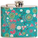 Green Floral 5 oz. Stainless Steel Flask