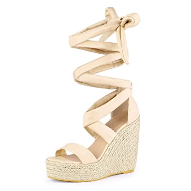 34241ee5c1c Allegra K Women's Espadrille Platform Wedges Heel Lace Up Sandals