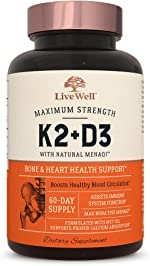 Vitamin K2 MK7 with D3 Supplement by LiveWell   Bone &