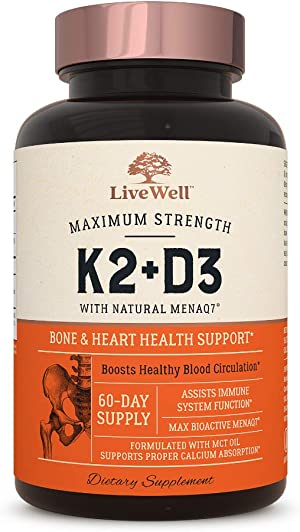 Vitamin K2 MK7 with D3 Supplement by LiveWell   Bone & Heart Health Support - Patented Vitamin K & Vitamin D3 5000 IU - 60 Capsules