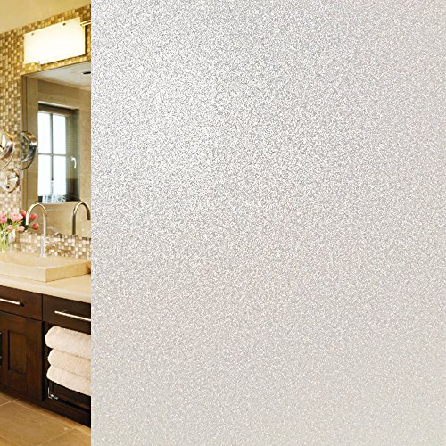 Qualsen Privacy Window Film Non Adhesive Frosted Window Films Heat Control Anti Uv Static Cling Glass Films for bathroom office decor (35.4 x 78.7 Inch) (Pumpkins White Faux)