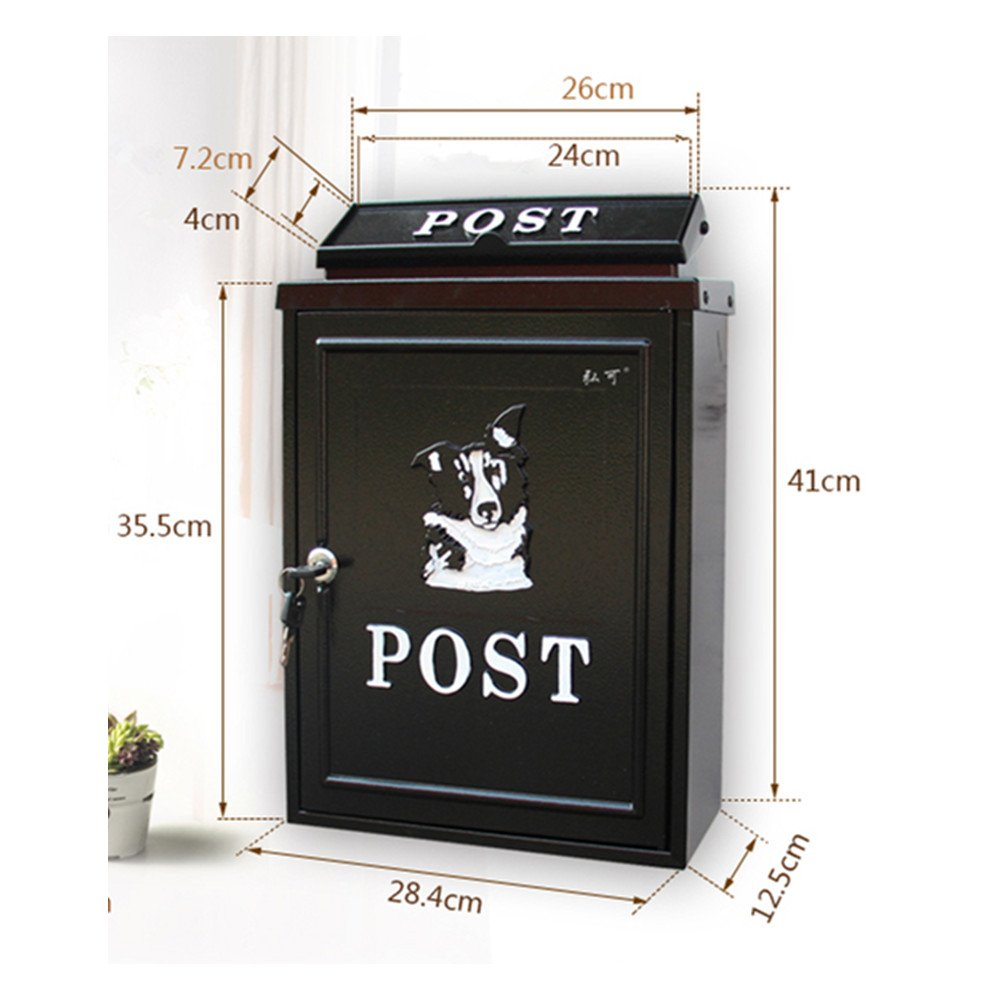 European classical villa mailbox Pastoral retro wall letter box Waterproof outdoor Thicker Post mailbox with lock British style by xichengshidai (Image #2)