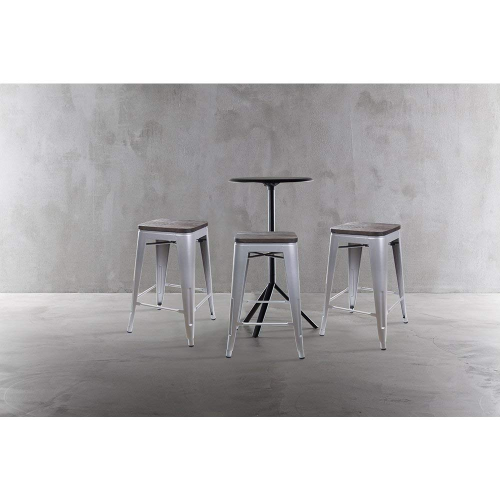 GIA Tolix Style M01-24GRAY_4 4 Metal Stools 24 Counter Height Gray Dark Wood