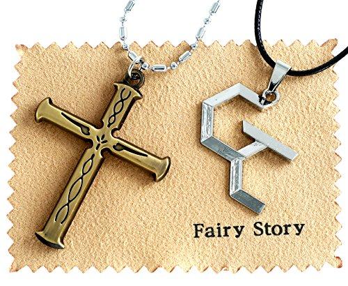 【Fairy Story】 ギルティクラウン (GUILTY CROWN) モチーフ コスプレ ネックレス 【2本セット】 GC ロゴ 桜満 集 & 恙神 涯 (つつがみ がい) 十字架 クロス (ブロンズ)【クロス付き】