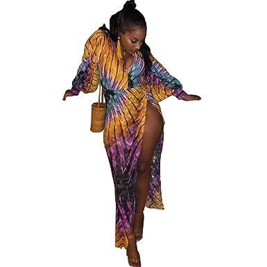 416736f3a2f25d Deep V Neck Floral Lantern Sleeve Shirt High Waist Split Women s Long Maxi  Dress (Color