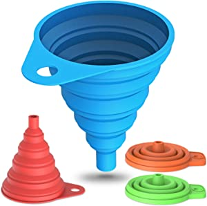 Silicone Collapsible Funnel Set of 4 (2 Large & 2 Small), Funnels for Filling Bottles, Flexible Foldable Kitchen Funnel, Food Grade and BPA Free Funnels for Kitchen (4 Pack)