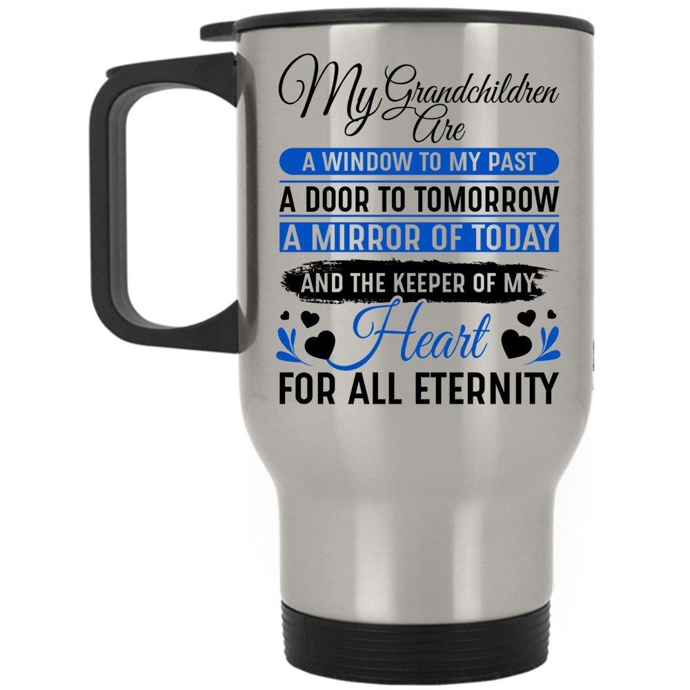 The Keeper Of My Heart For All Eternity Travel Mug, My Grandchildren Are Window To My Past Mug (Travel Mug - Silver)