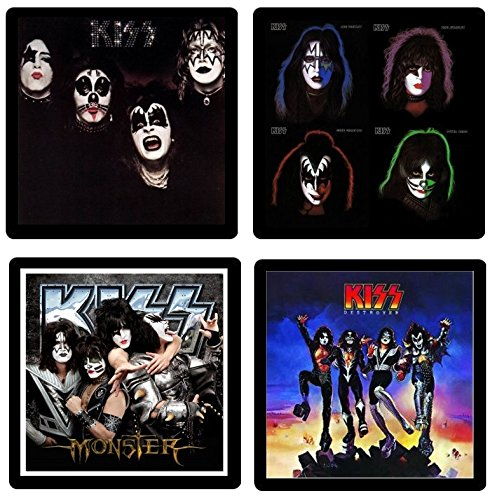 Kiss (Band) Coaster Gift Collection - (4) Different Album Covers Reproduced Onto Absorbent, Soft, Drink (Kiss Coasters)