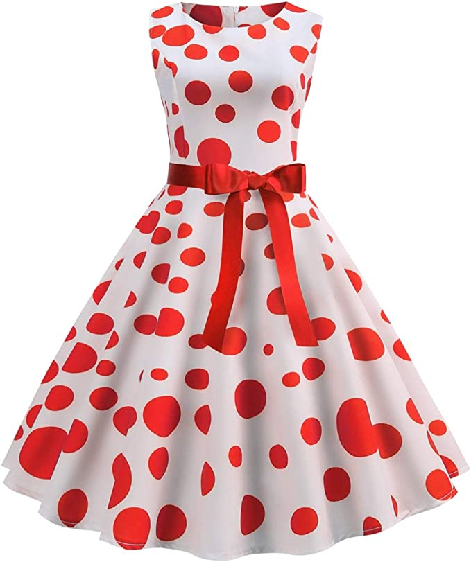 Vintage Polka Dot Dresses – 50s Spotty and Ditsy Prints Wellwits Womens Polka Dots Sash Tie Waist 1950s Retro Vintage Dress $14.99 AT vintagedancer.com