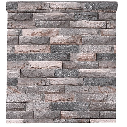 Blooming Wall Peel and Stick Faux Stone Prepasted Self Adhesive Wallpaper Décor Wallcoverings,Large Size,17.6in x 32.8ft (Wallpaper(32.3 Square Ft/Roll), KEMB01) -