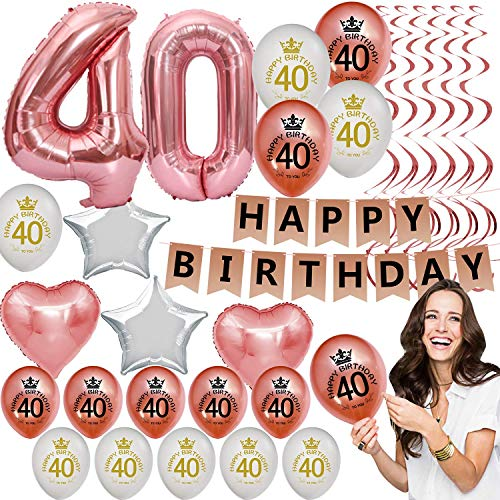 40th Birthday Decorations for Women Her Party Supplies Kit Rose Gold Fourty