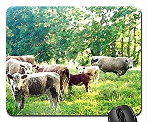 Cows In A Field Mouse Pad, Mousepad (Cows Mouse Pad, Watercolor style)