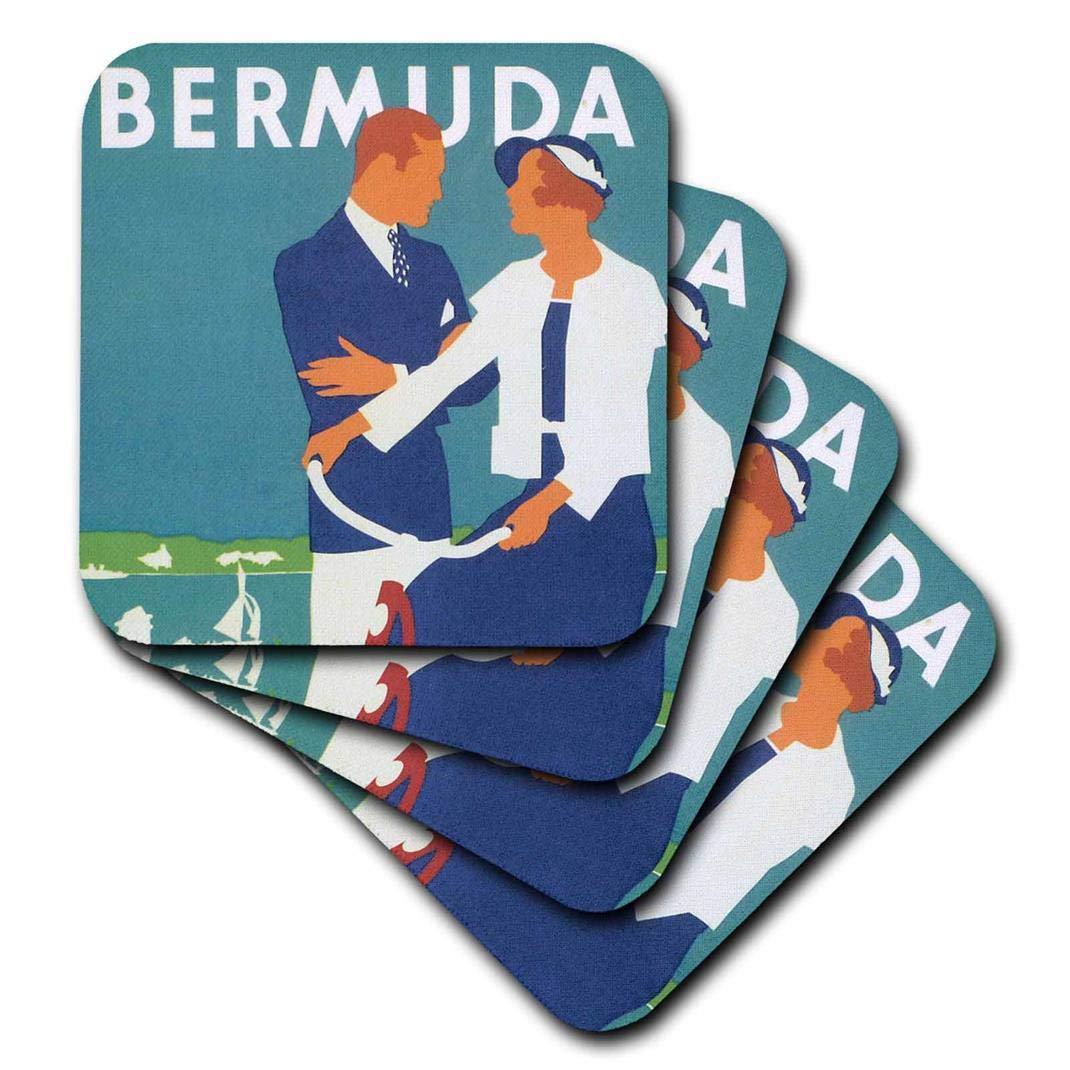 Cst 99198 3 3drose Vintage Bermuda Couple On Bicycle Set Of 4 Ceramic Tile Coasters