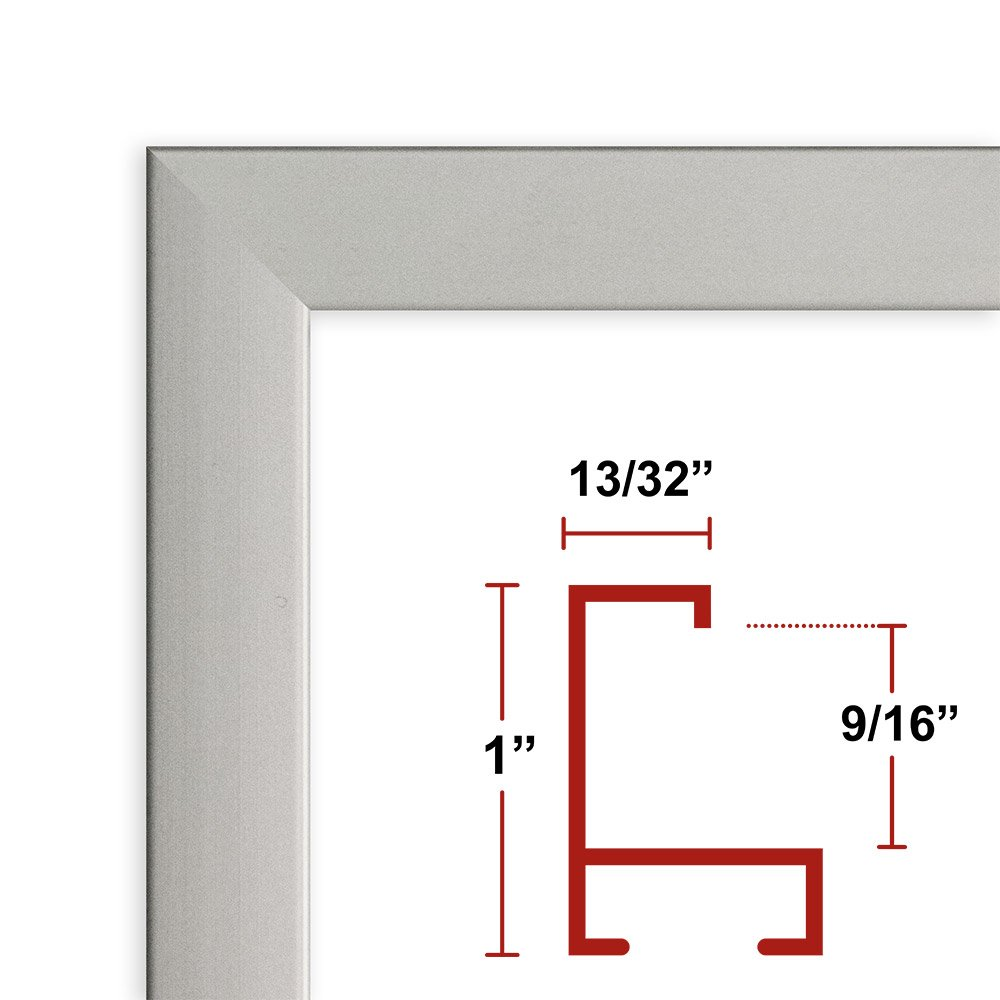 42 x 56 Satin Silver Poster Frame - Profile: #93 Custom Size Picture Frame