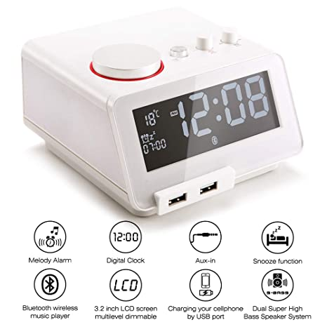 Homtime Alarm Clock USB Charger - Senior Multi-Function - Digital FM Radio Snooze Function Bluetooth Hands-Free Calling Wireless Dual USB Charger ...