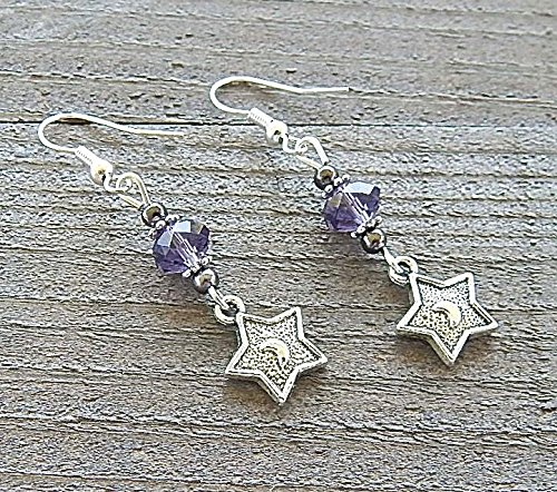 Silver Star Earrings Embossed Goddess Crescent Moons Amethyst Purple Colored Crystal Beads Sterling Silver Earwires (Goddess Amethyst Ring)