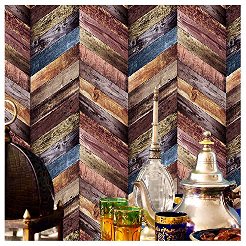 (3176 Chevron Wood Wallpaper Rolls, Colorful Faux Wood Textured Paneling Wall Mural Kitchen Bedroom Living Room Hotels Wall Decoration 20.8