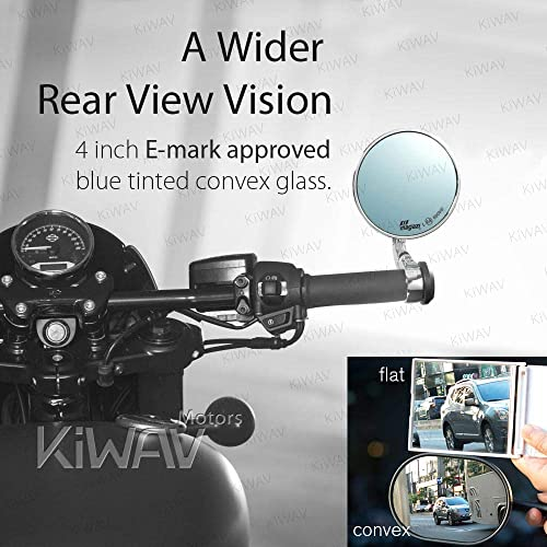 KiWAV Bob Chrome Motorcycle Bar End Mirrors Anti-Glare Shorter Stem OEM Bar End Mounts M12 Bolt Compatible with BMW