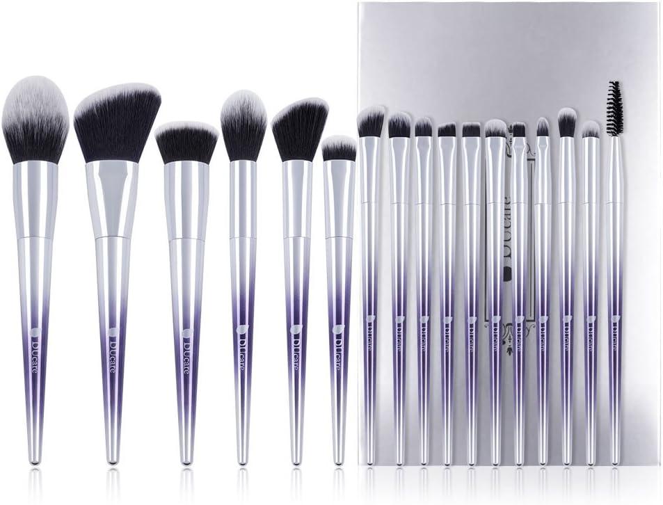 DUcare Brochas de Maquillaje Profesional 17 PCS Púrpura Color Base de Cara Sombra de Ojos Delineador de ojos Resaltador Kits de pinceles de maquillaje