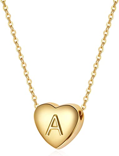 Dainty Letter Tiny Alphabet Initial Necklace for Women Teens Girls Child S925 Sterling Silver Heart Initial Necklace White Gold 14K Gold Plated Silver Heart Initial Necklace for Women Girls Kids