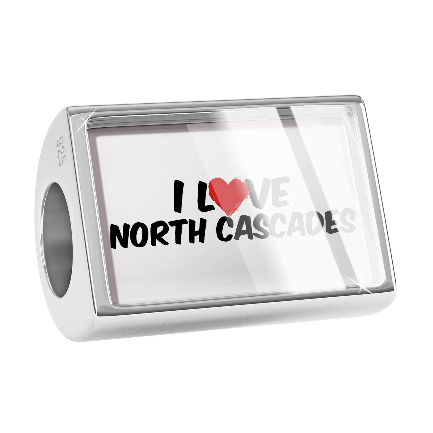 NEONBLOND Custom Charm I Love North Cascades 925 Sterling Silver Bead