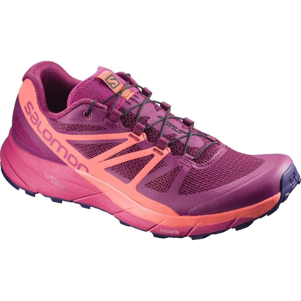 Salomon Sense Ride Trail Running Shoe - Women's Sangria/Living Coral/Virtual Pink 6.5