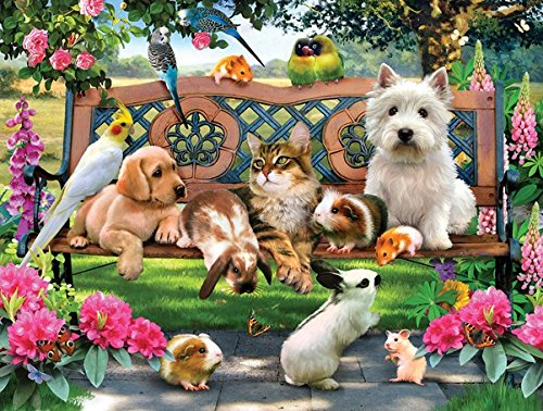 Pets in the Park 500 Piece Jigsaw Puzzle by (500 Piece Round Puzzle)