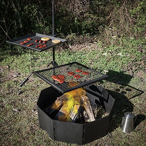 Titan Campfire Adjustable Swivel Grill Cooking Grate Grid...