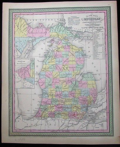 michigan-w-upper-peninsula-inset-steam-boats-1850-mitchell-scarce-antique-map