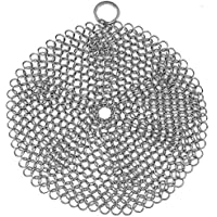Stainless Steel Cast Iron Skillet Cleaner Chainmail Cleaning Scrubber with Hanging Ring for Cast Iron Pan,Pre-Seasoned Pan,Griddle Pans, BBQ Grills and More, Pot Cookware