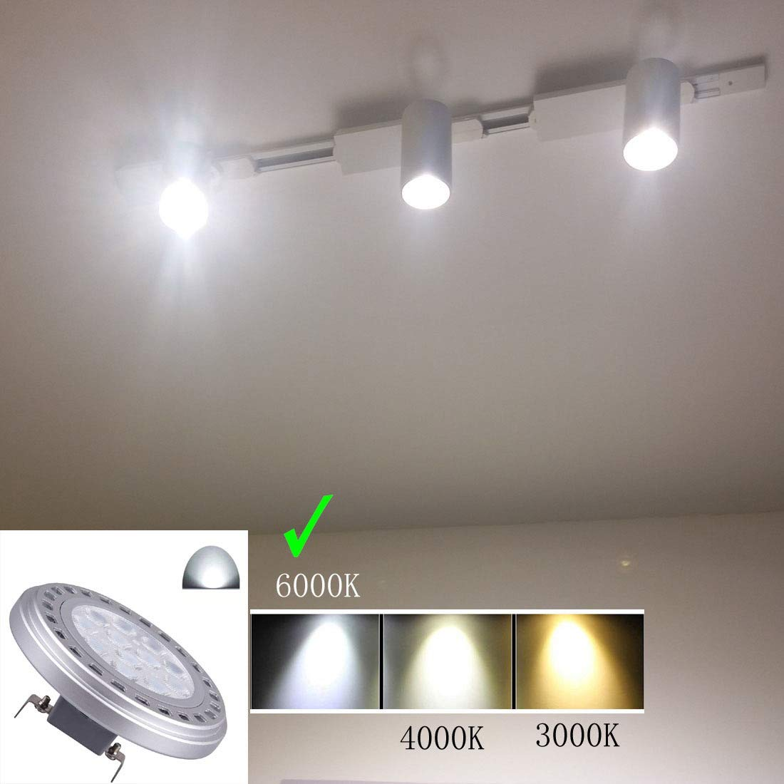Ar111 Led G53 Bulb 15w Ac Dc12v 6000k Cool White Light Es111 Ar111 Spotlight Tracklight Landscape Reflector Light 30/°Beam View Angle 1200lm Halogen 75w 100w Replacement Bulbs AR111 G53, 12V